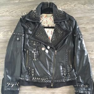 Spikes Leather Motorcycle Jacket All Saints like